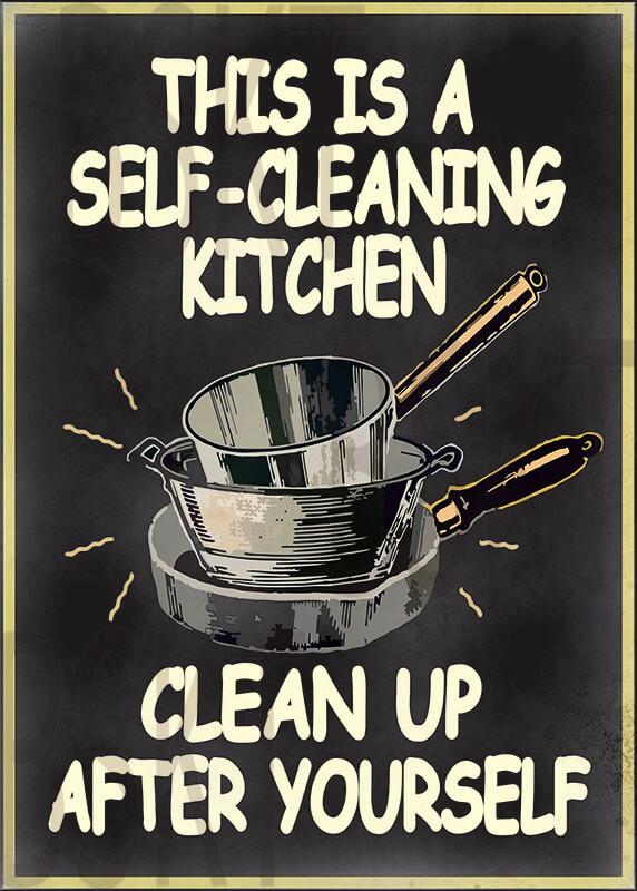 Cuadro en lienzo  This is a self cleaning kitchen clean up after yourself alta resolución