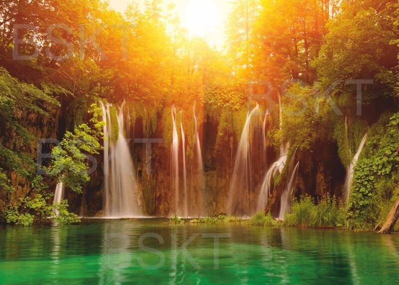 Cuadro en lienzo cascada lago