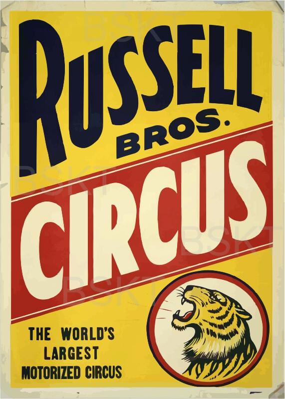 Cuadros en lienzo circo rusell vintage poster antiguo