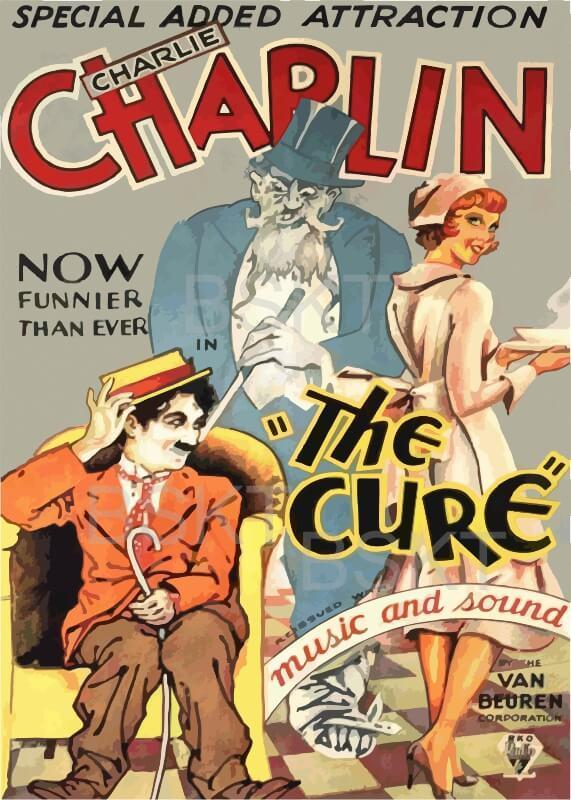 Cuadro en lienzo película cine mudo Chaplin The cure