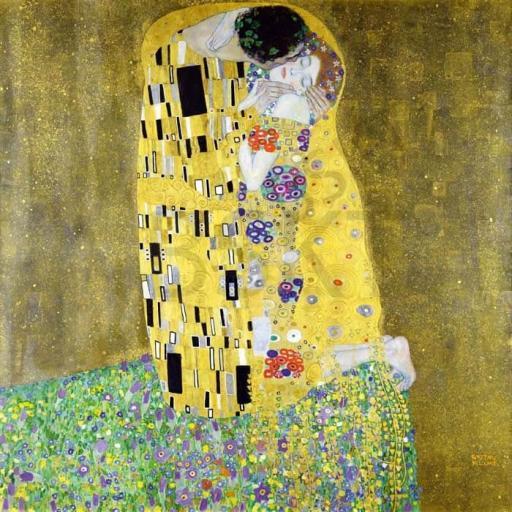 Cuadro en lienzo cuadrado el beso Gustav Klimt, Alta resolución.