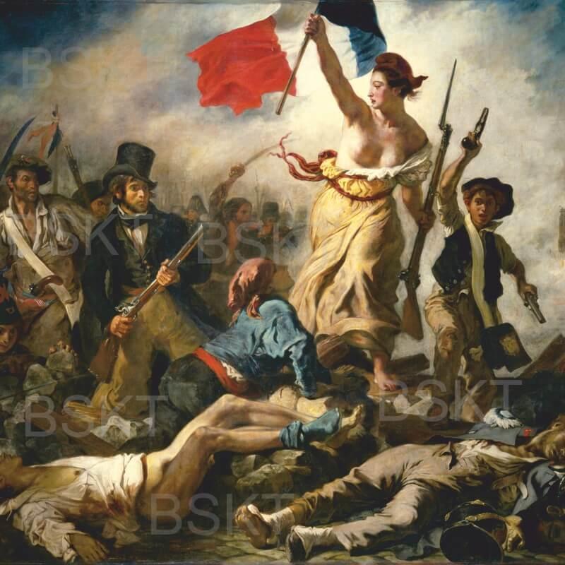Cuadro en lienzo cuadrado La libertad guiando al pueblo Delacroix