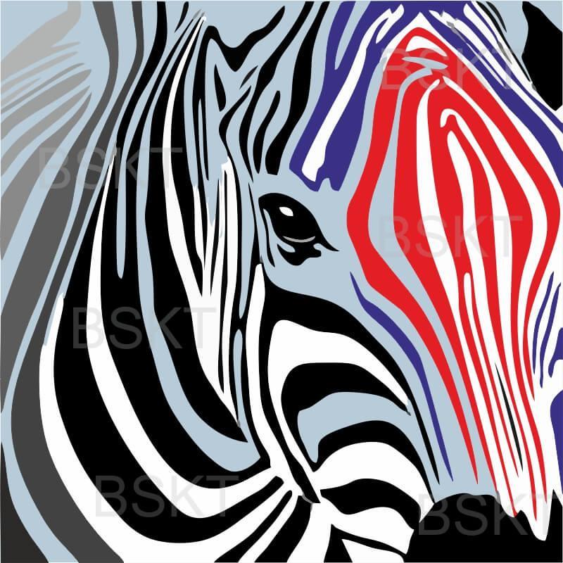 Cuadro en lienzo cuadrado pop art cebra colores