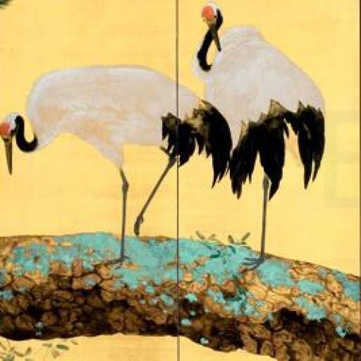 Cuadro en lienzo  alargado arte decorativo japonés fondo dorado garzas en pino