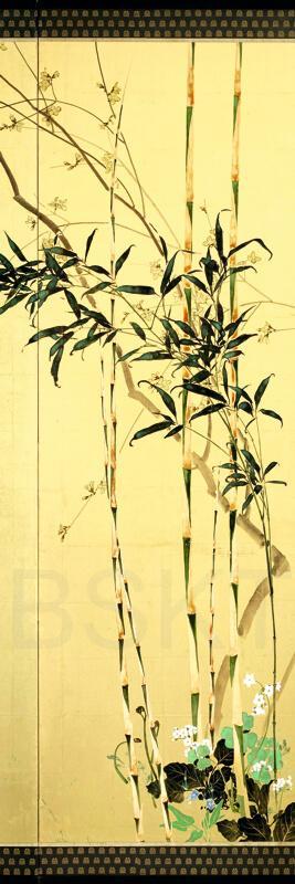 Cuadro en lienzo arte decorativo japonés fondo dorado