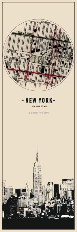 Cuadro en lienzo montado sobre bastidor  mapa de Manhattan NY New  York vintage