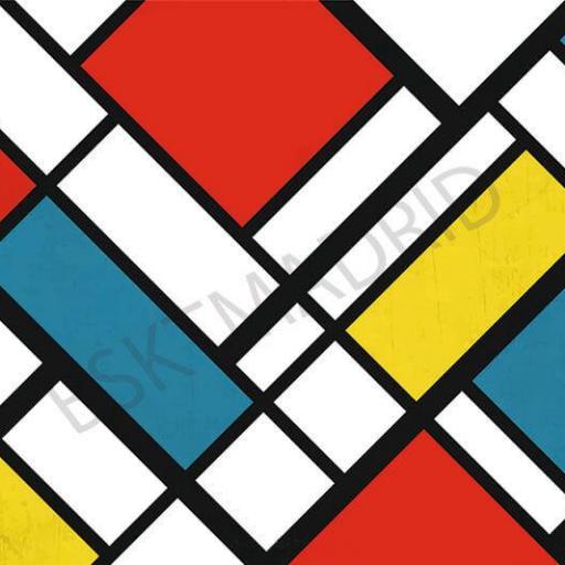 Cuadro en Lienzo estilo Piet Mondrian pintura moderna vanguardista alta resolución [0]