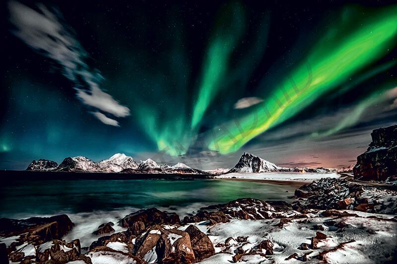 Cuadro en lienzo aurora boreal paisaje decoración