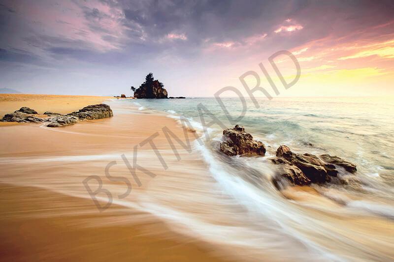 Cuadro en lienzo playa atardecer paisaje marino