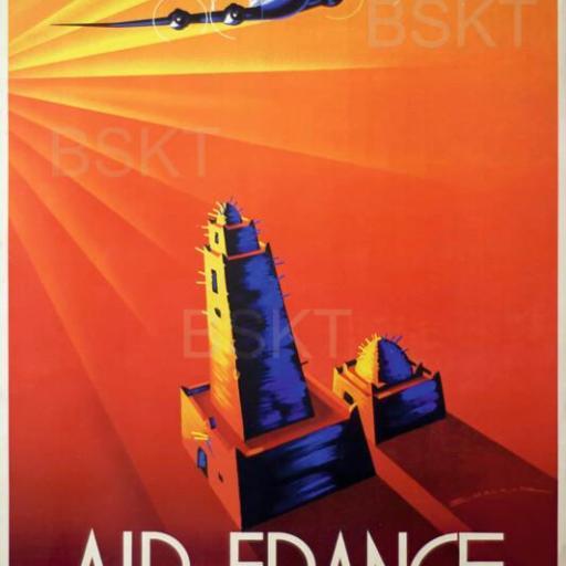 Cuadro en lienzo vintage cartel Air France viajes