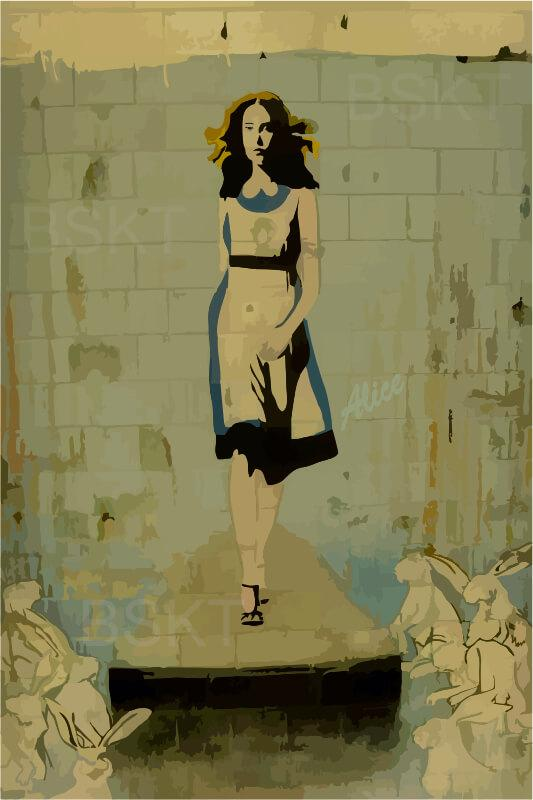 Cuadro en lienzo graffiti Alicia en el país de las maravillas