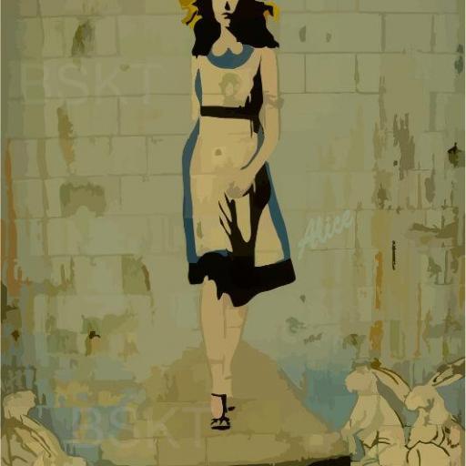 Cuadro en lienzo graffiti Alicia en el país de las maravillas  [0]