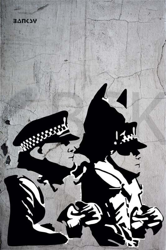 Cuadro en lienzo Banksy Batman graffiti