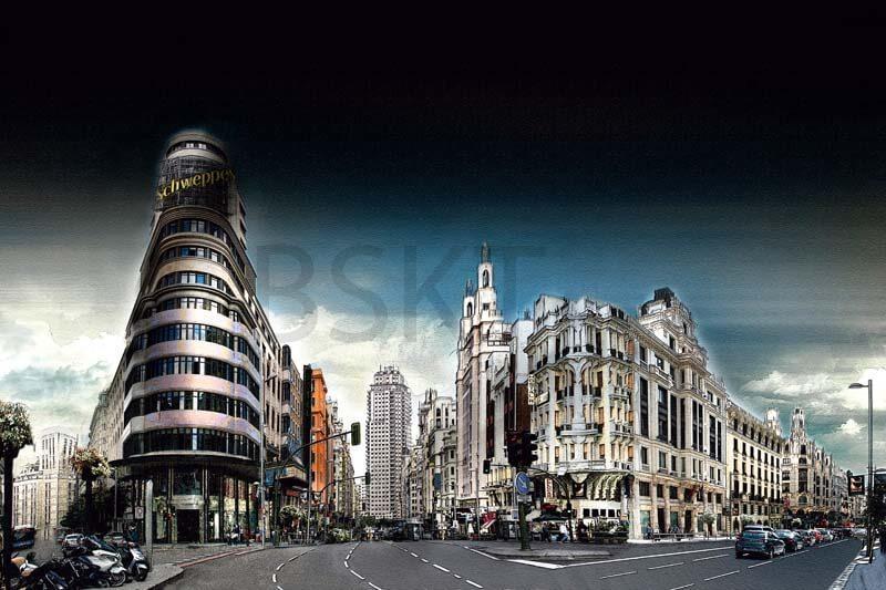Cuadro en lienzo Gran Via Madrid callao edificio Carrión cielo