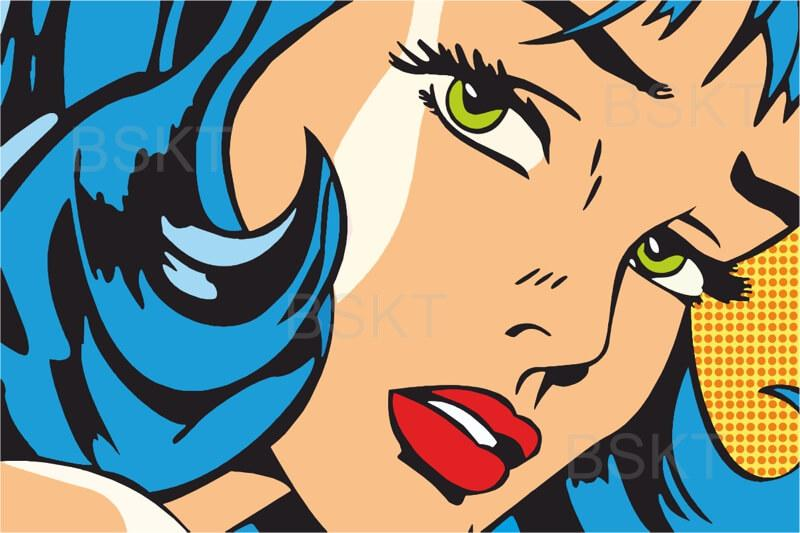 Cuadro en lienzo moderno Pop art chica con lazo azul cómic estilo Roy Lichtenstein