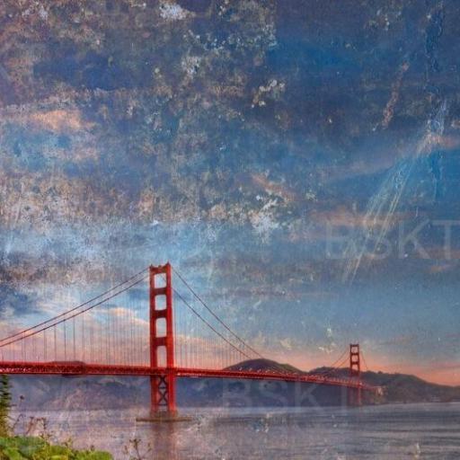 Cuadro en lienzo canvas Golden Gate vintage