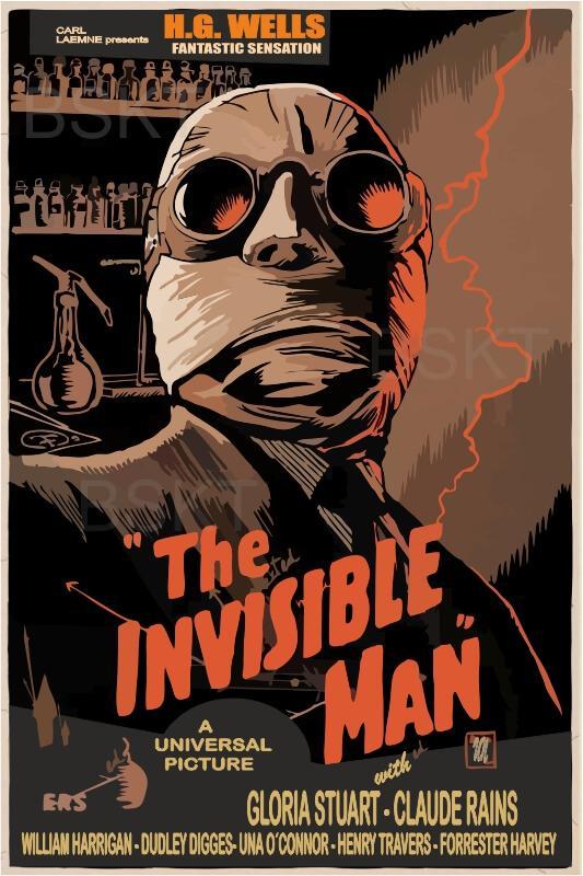 Cuadro en lienzo el hombre invisible póster película clásica