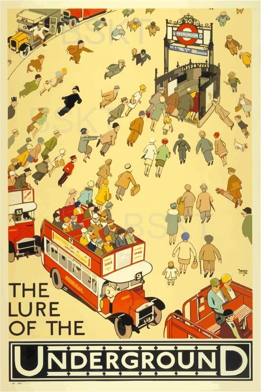 Cuadro en lienzo cartel metro de Londres vintage the lure of the underground