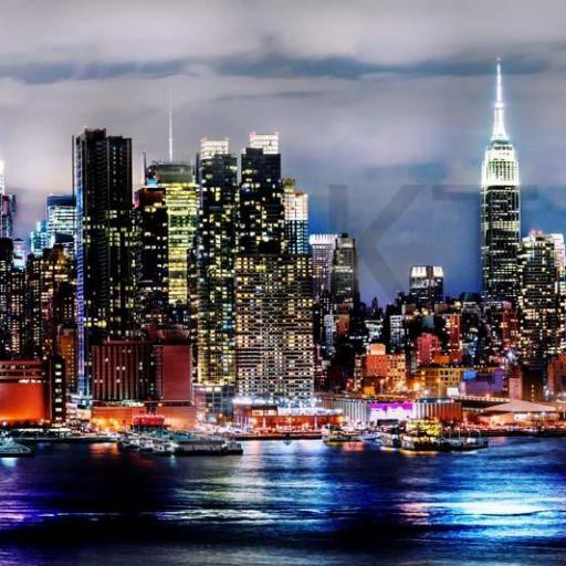 Cuadro en lienzo ciudad de Nueva York vista nocturna