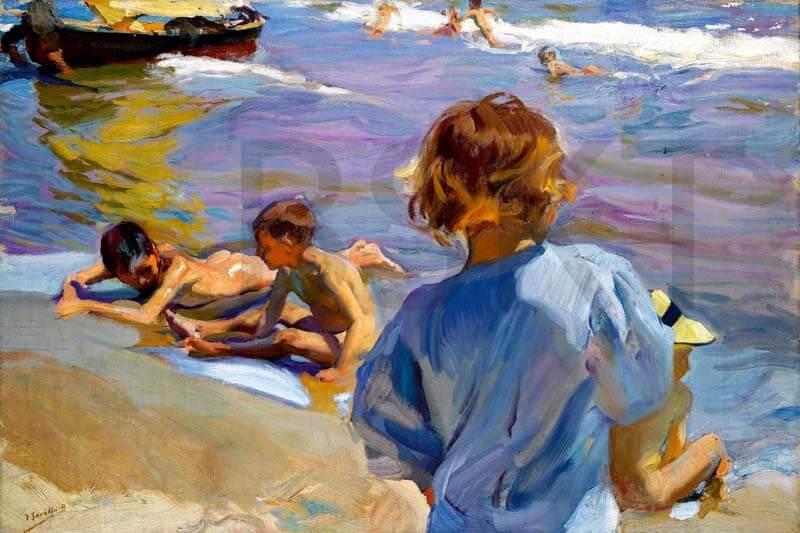 Cuadro en lienzo de Sorolla niños playa impresionismo