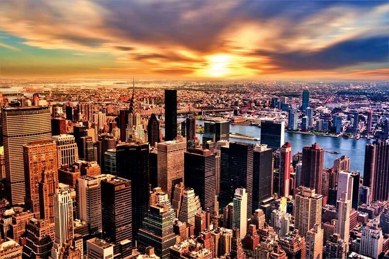 Cuadros en lienzo ciudad de Nueva York atardecer
