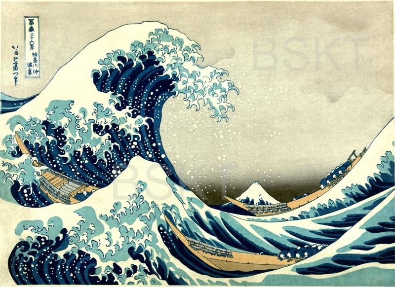 Cuadro famoso decorativo japonés Gran Ola de Kanawaga de Hokusai