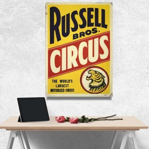 Cuadros en lienzo circo rusell vintage poster antiguo [1]