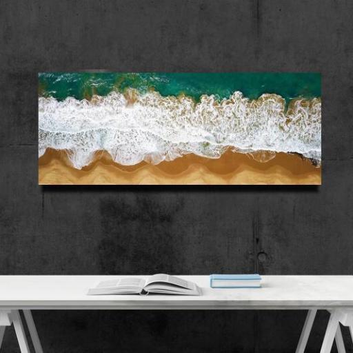 Cuadro en lienzo rectangular vista aérea de playa olas rompiendo  [1]