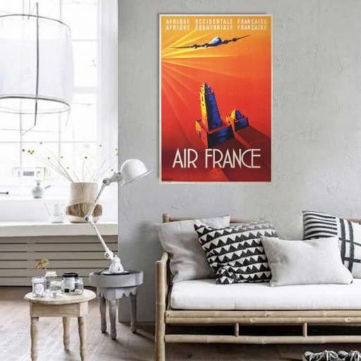 Cuadro en lienzo vintage cartel Air France viajes  [1]