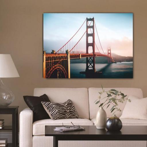 Cuadro en lienzo tamaño grande XXL bahía de San Francisco Puente Golden Gate Bridge [1]