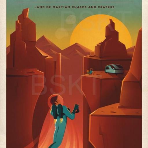 Cuadro en lienzo recreación de la conquista de Marte Marineris