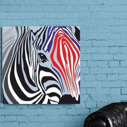 Cuadro en lienzo cuadrado pop art cebra colores [1]