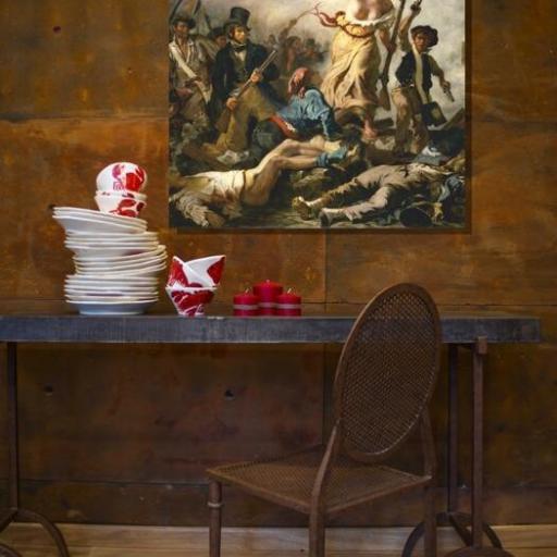 Cuadro en lienzo cuadrado La libertad guiando al pueblo Delacroix [1]