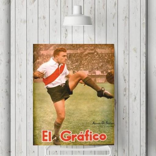 Cuadro en lienzo  Di Stefano revista El Gráfico River Plate Real Madrid [1]