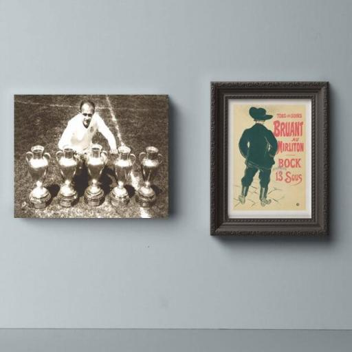 Cuadro en lienzo Alfredo Di Stefano copas de Europa vintage Real Madrid [1]