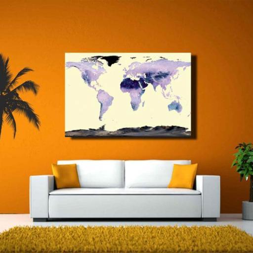 Cuadro en lienzo para decoración mapamundi mapa del mundo [1]