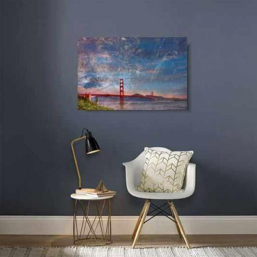 Cuadro en lienzo canvas Golden Gate vintage  [1]