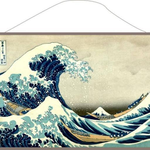 Lienzo con cuerda listo para colgar La gran ola de Kanagawa Hokusai
