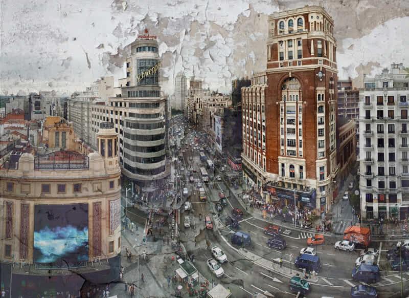 Cuadro grande decorativo de Madrid Gran Via para salón