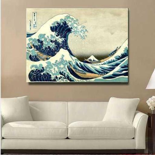 Cuadro famoso decorativo japonés Gran Ola de Kanawaga de Hokusai [1]