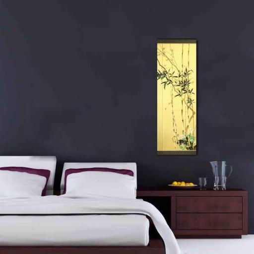 Cuadro en lienzo arte decorativo japonés fondo dorado [1]