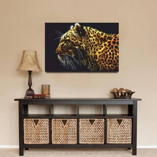Cuadro en lienzo moderno leopardo para salón [1]