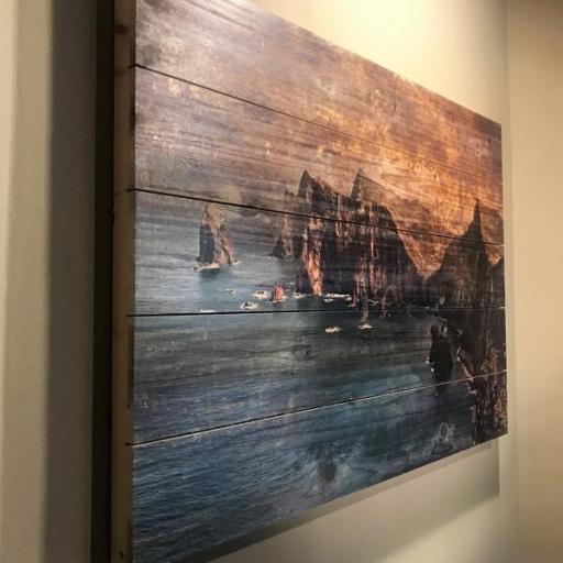 Cuadro de madera isla de madeira. Impresión a color sobre madera