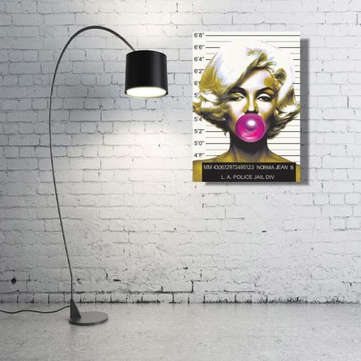 Cuadro en lienzo Marilyn Monroe chicle cárcel detenida mugshot prontuario foto policial ficha policía [1]