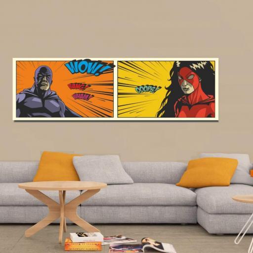 Cuadro en lienzo moderno cómic pop art superhéroes tamaño grande cabecero salón [1]