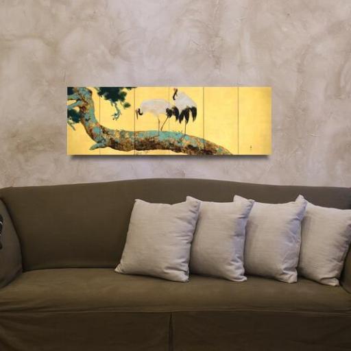 Cuadro en lienzo  alargado arte decorativo japonés fondo dorado garzas en pino [1]