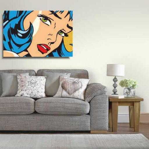 Cuadro en lienzo moderno Pop art chica con lazo azul cómic estilo Roy Lichtenstein [1]