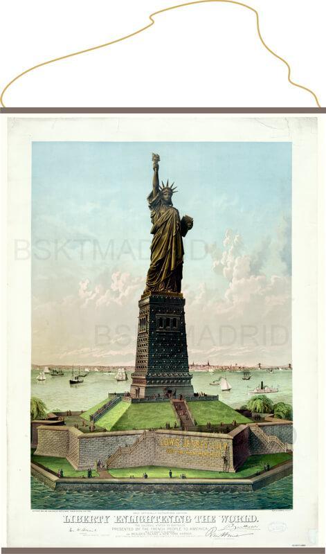 Lienzo con cuerda para colgar estatua de la libertad Nueva York vintage