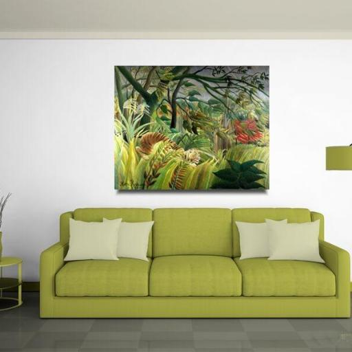 Cuadro lienzo Rousseau tigre en tormenta tropical [1]