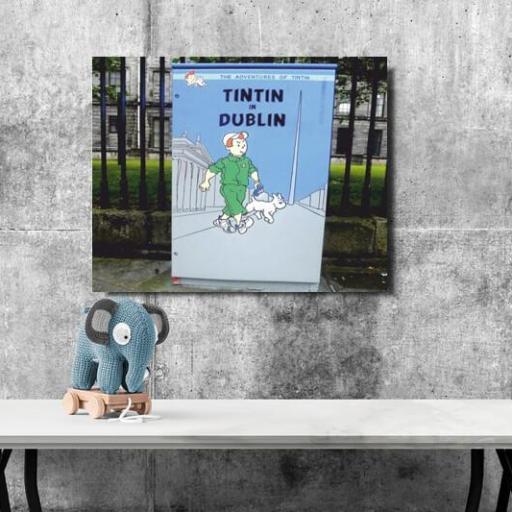Cuadro en lienzo Graffiti Tintin Dublin [1]